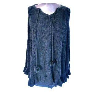 $59 NWT Skye's The Limit Black Knit Pom Pom Poncho